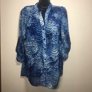 CHICO'S Sheer Button Down Top, Size 2 (M 12)